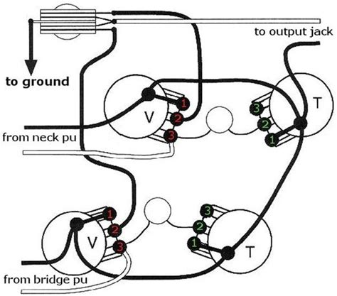 how to re wire an electric guitar with two knobs and two to a separate output for