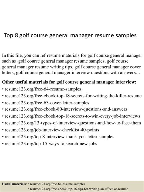top 8 golf course general manager resume sles