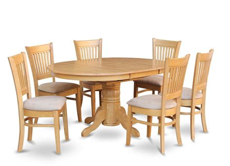 Oak Dining Room Chairs by 7pc Oval Dinette Kitchen Dining Room Set Table W 6