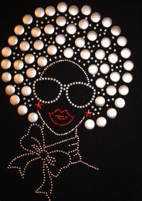 diva fashion girlladywoman  afro rhinestone