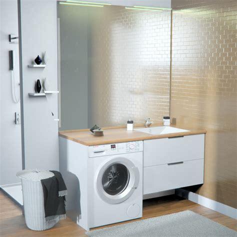 meuble vasque de salle de bain avec emplacement lave linge concept machine 224 laver chene vert