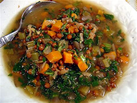 Mediterranean Lentil Soup With Spinach Recipe