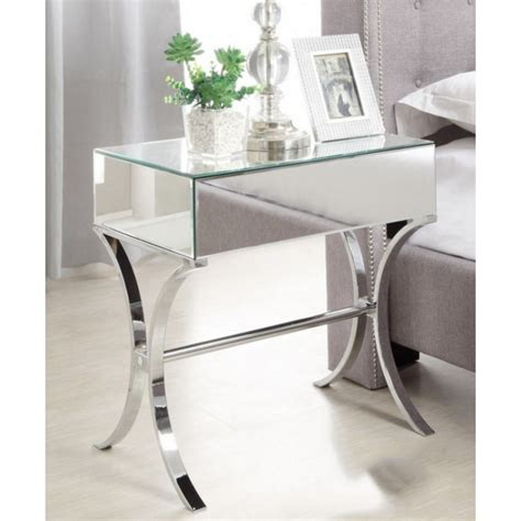 mirror tables barcelona mirrored bedside table with chrome stand single