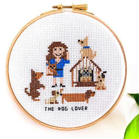 female dog owner cross stitch gift studio koekoek