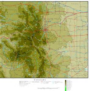 Colorado Elevation Map with Cities
