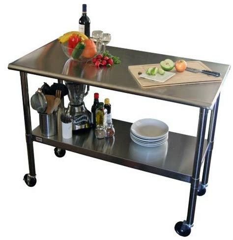 kitchen island table on wheels cart stainless steel table rolling prep kitchen island