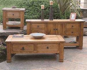 Rustic oak occasional table set oak coffee and end table for Mexican style coffee table