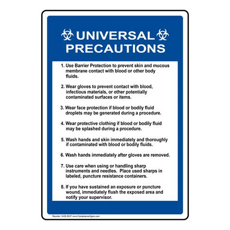 universal precautions sign nhe  medical facility