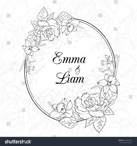 wedding invitation template oval floral frame stock vector