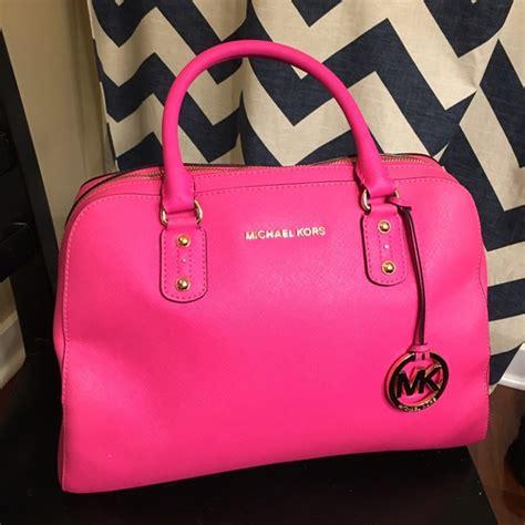 neon pink handbag mc luggage