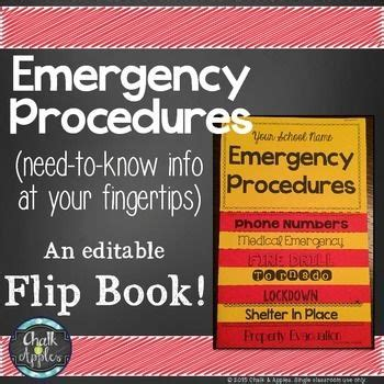 Emergency Procedures Flip Book (editable Flipbook)  Flip Books, Flipping And School