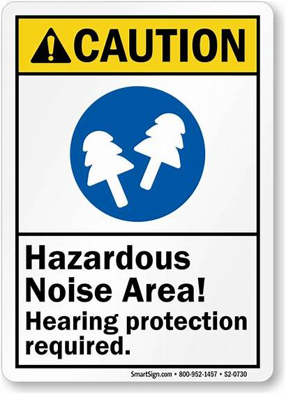 Protection Sign Hearing Noise Hazardous Caution Required