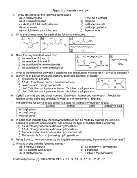 chemistry review worksheets free worksheets library