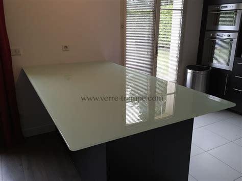 vitre pour table de cuisine dessus de table verre trempe clair laque blanc2 cuisine