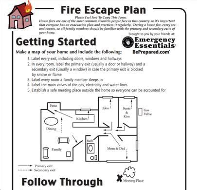 printable fire escape plan escape plan printable emergency preparedness