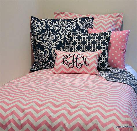 Pink & White Chevron Designer Dorm Room Bedding Set  Dorm