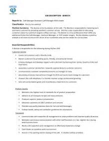 duties on resume barista description barista description