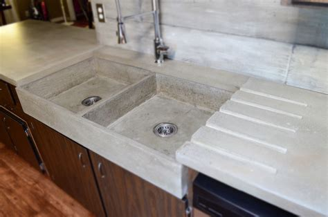 This Modern, Double Farmstyle, Apron Concrete Sink Is