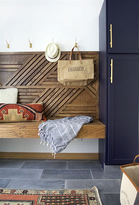 diy geometric wood feature wall  floating bench