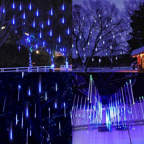 80cm led meteor shower snow falling light outdoor tree
