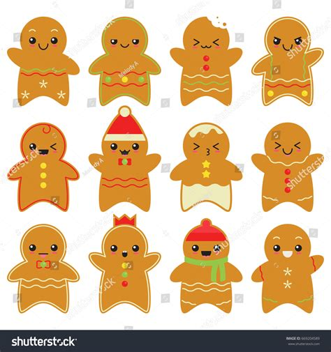 Cute Men Templates by Cute Gingerbread Man Set White Background Stock Vector