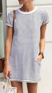 V-Neck Short Sleeve Striped T-Shirt Dress