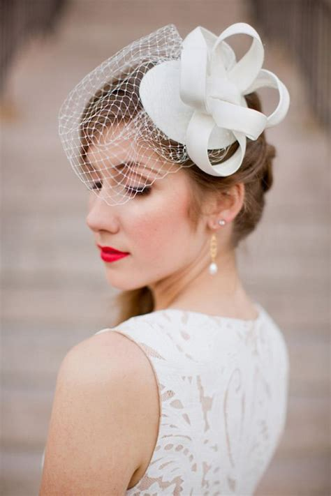 white lace short wedding dress birdcage veil red lips