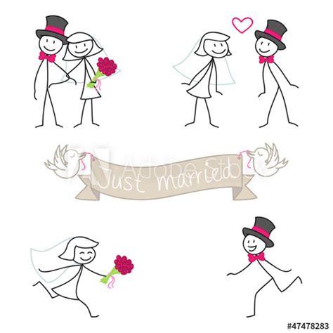 strichmaennchen hochzeitseinladung  married set