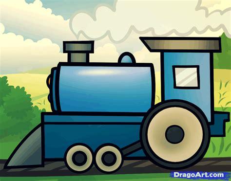 How To Draw A Cartoon Train, Step By Step, Trains