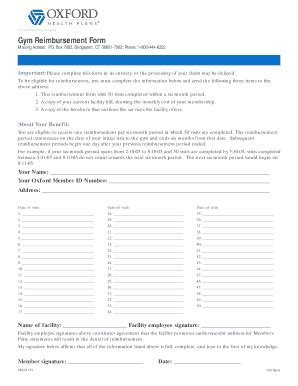 fillable online oxford gym reimbursement form name