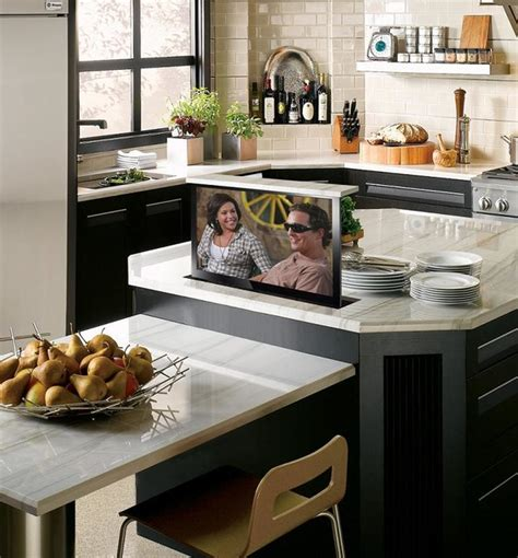 hidden tv  kitchen island contemporary kitchen phoenix  nexus