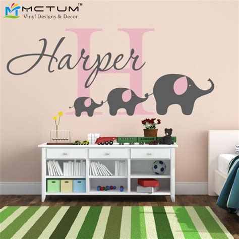elephant wall sticker custom name initial monogram nursery