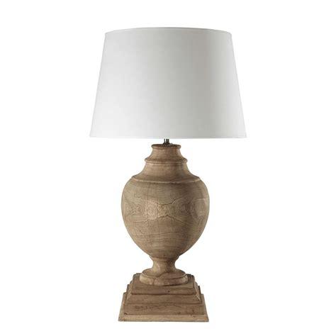 lampe en manguier  abat jour en coton blanc   cm montaigne maisons du monde