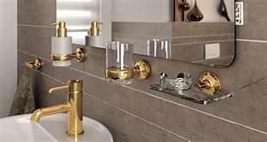 Bad Accessoires Gold : geesa tone gold accessoires set toilettenb rstenhalter haken papierhalter und ersatzb rste ~ Whattoseeinmadrid.com Haus und Dekorationen