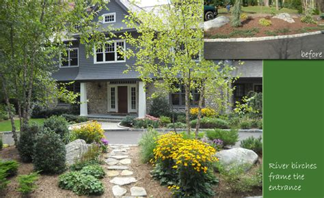 front entrance rugs river birch trees frame the front door through the