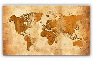Weltkarte Bild Holz : bilder weltkarte kunstdruck auf leinwand wandbild bild ~ Lateststills.com Haus und Dekorationen