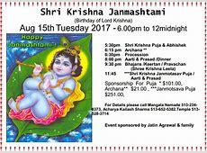 Shri Krishna Janmashtami – Aug 15, 2017 – Hindu Temple of