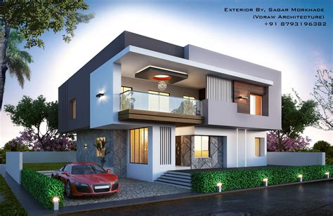 Moderner Bungalow by Modern Bungalow Exterior By Sagar Morkhade Vdraw