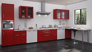 straight shaped modular kitchen designs With modular kitchen designs red white