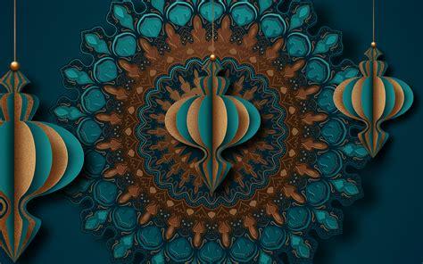 mandala gold  turquoise islamic greeting card design