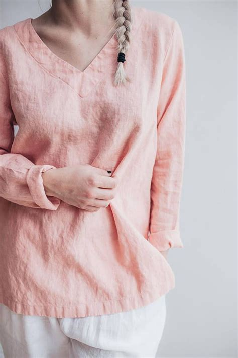 Tab Sleeved Linen Top pink linen tunic top with sleeves v neck top linen
