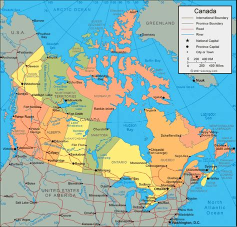 physical map  canada