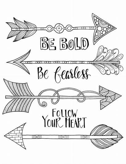 Coloring Arrow Pages Words Adult Stencil Boho