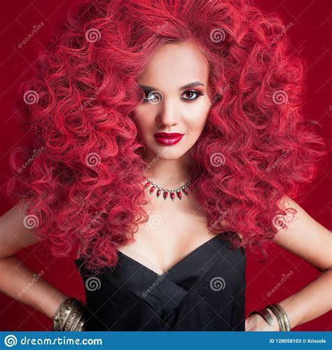 Beautiful Young Woman With Red Hair Bright Makeup And