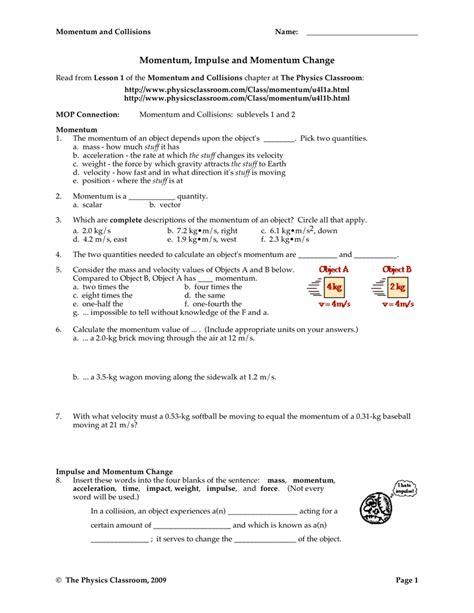 worksheet conservation of momentum worksheet answers