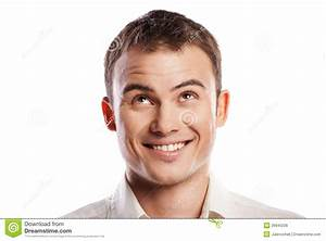 Handsome Smiling Young Man Looking Up Isolated Royalty ...