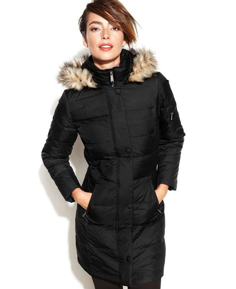 dkny hooded faux fur trim quilted long length  coat