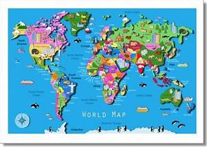 Kids world map contemporary kids wall decor london for Kitchen colors with white cabinets with kids world map wall art