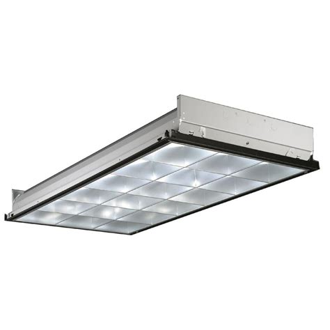 lithonia lighting 4 ft 3 light fluorescent silver