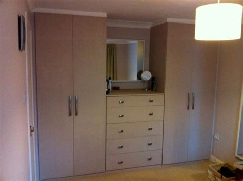 Beige painted mdf bedroom wardrobe   DIY Wardrobes